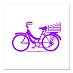 Purple Bike with Basket Square Car Magnet 3
