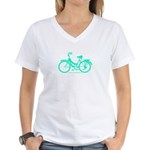 Teal Bicycle Sans basket Women's V-Neck T-Shirt