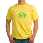 Teal Bicycle Sans basket Yellow T-Shirt