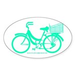 Cycling Cyclists - Teal Bike Sticker (Oval)