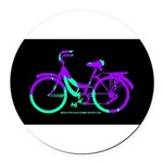 80s Style Bicycling Stivker Round Car Magnet