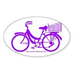 Purple Bike with Basket Sticker (Oval)