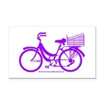 Purple Bike with Basket Rectangle Car Magnet