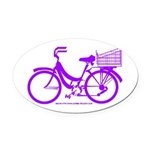 Purple Bike with Basket Oval Car Magnet