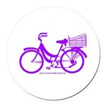 Purple Bike with Basket Round Car Magnet