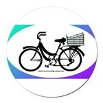 Bicycle Decal with basket Round Car Magnet