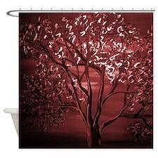 Maroon Abstract Tree Shower Curtain