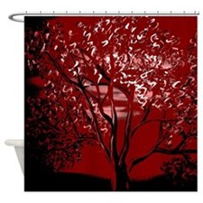 Red Tint Tree Shower Curtain