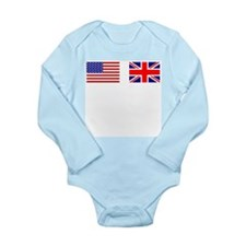 USA and UK Flags for Dark Long Sleeve Infant Bodys