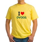 I Love Oyoos design Yellow T-Shirt
