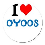 I Love Oyoos design Round Car Magnet