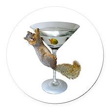Martini Squirrel Round Car Magnet