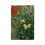 Van Gogh - Butterflies Rectangle Magnet