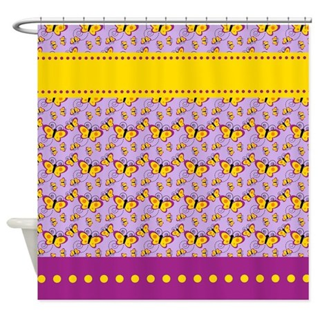 Yellow and purple butterflies shower curtain by for Purple and yellow bathroom ideas