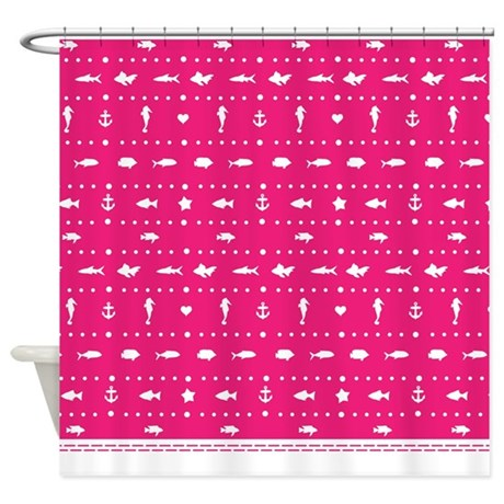 Hot Pink Sea And Beach Shower Curtain By Inspirationzstore