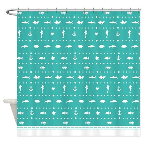 turquoise teal contemporary and stylish fish shower curtain