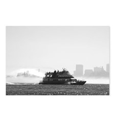 Black + White Ferry w/fog on Bay Postcards (Pac 8)