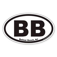 Belmar Beach BB Euro Oval Decal