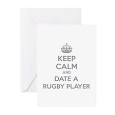 Keep calm and date a rugby player Greeting Cards (