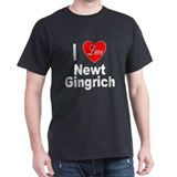 I Love Newt Gingrich (Front) Black T-Shirt