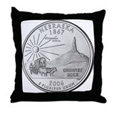 Nebraska State Quarter Throw Pillow