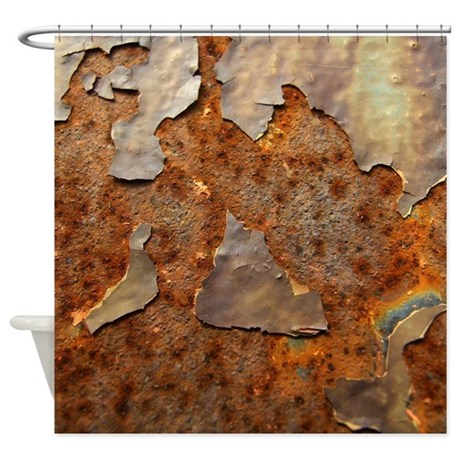 paint and rust shower curtain by artoffoxvox