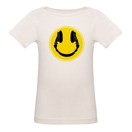 DJ Smiley Headphone Platter Organic Baby T-Shirt