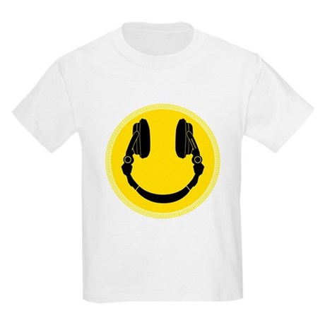 DJ Smiley Headphone Platter Kids Light T-Shirt