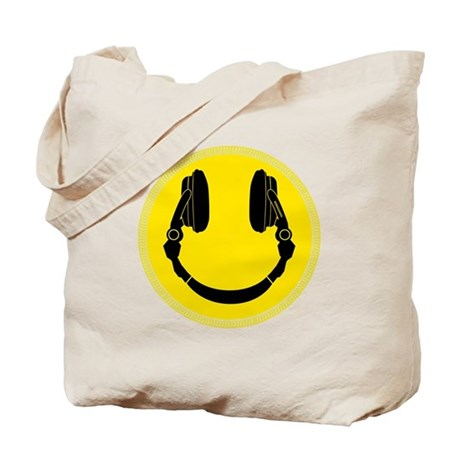 DJ Smiley Headphone Platter Tote Bag