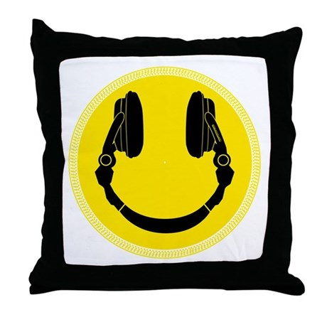 DJ Smiley Headphone Platter Throw Pillow