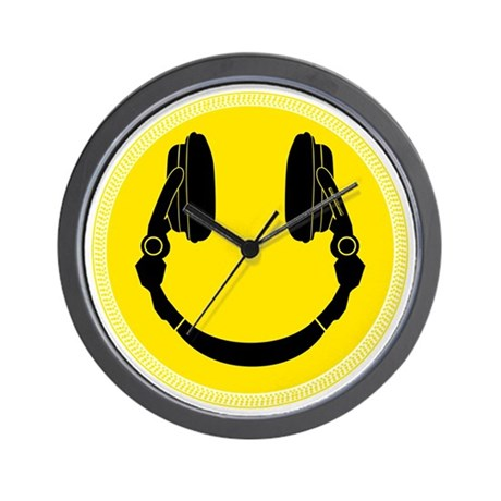 DJ Smiley Headphone Platter Wall Clock