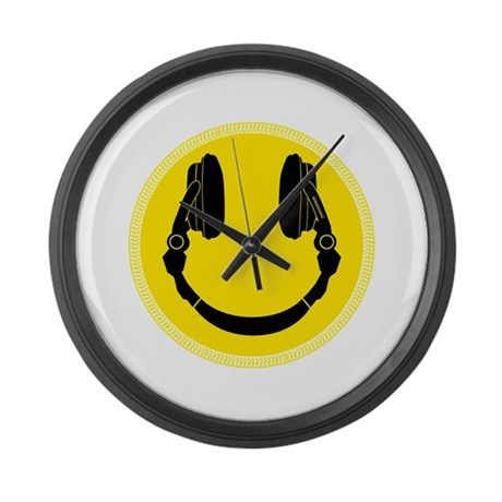DJ Smiley Headphone Platter Large Wall Clock