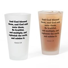 Genesis 1:28 Drinking Glass