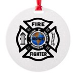 Firefighter Recycle Round Ornament