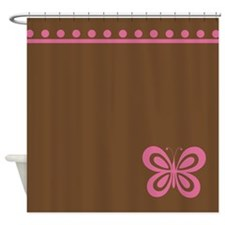 Pink Butterfly Shower Curtain