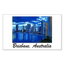 Brisbane City Skyline Rectangle Stickers