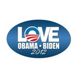 LOVE Obama Biden 2012 Oval Car Magnet