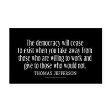 Jefferson Democracy Quote 2 Rectangle Car Magnet