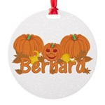 Halloween Pumpkin Bernard Round Ornament