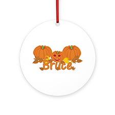 Halloween Pumpkin Bruce Ornament (Round)