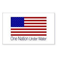 One Nation Under Water Rectangle Sticker