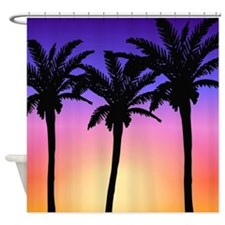 Palm Trees at Sunset Tropical Beach Shower Curtain