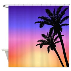 Pink Sunset Beach with silhouettes of palm trees shower curtain