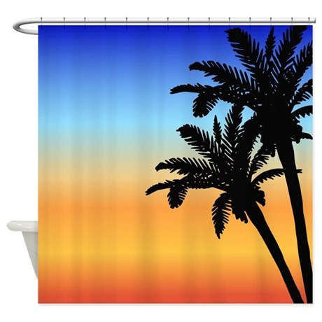 tropical sunset palm tree shower curtain