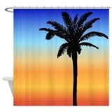 Beach palm tree Shower Curtain
