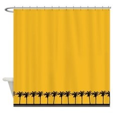 Yellow Tropical Palm Tree Shower Curtain