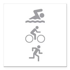 "Triathlete Square Car Magnet 3"" x 3"""