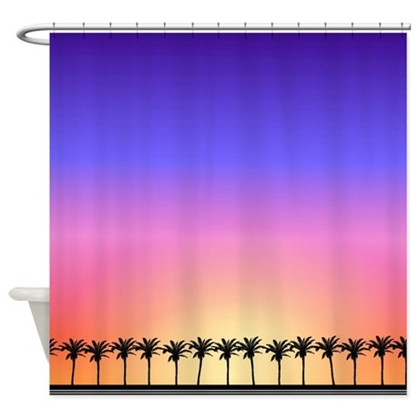palm trees border tropical beach shower curtain