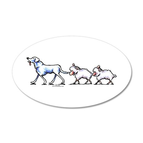 Akbash Dog n Sheep 20x12 Oval Wall Decal