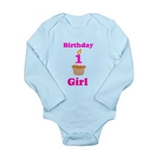 1 year old Birthday girl Long Sleeve Infant Bodysu